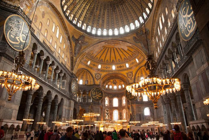 The interior of the Hagia Sophia today reveals a visual legacy from its role as both ...