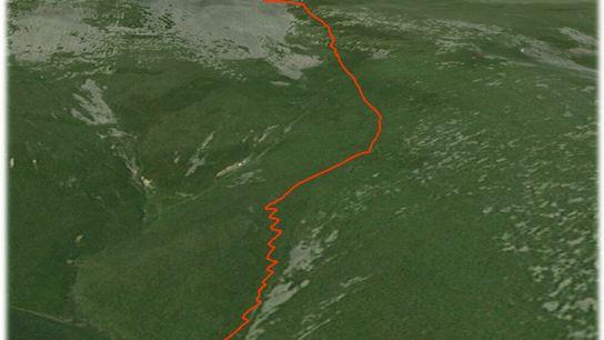 Paul Salopek zigzags down a steep ridge in the Caucasus mountains of Georgia.