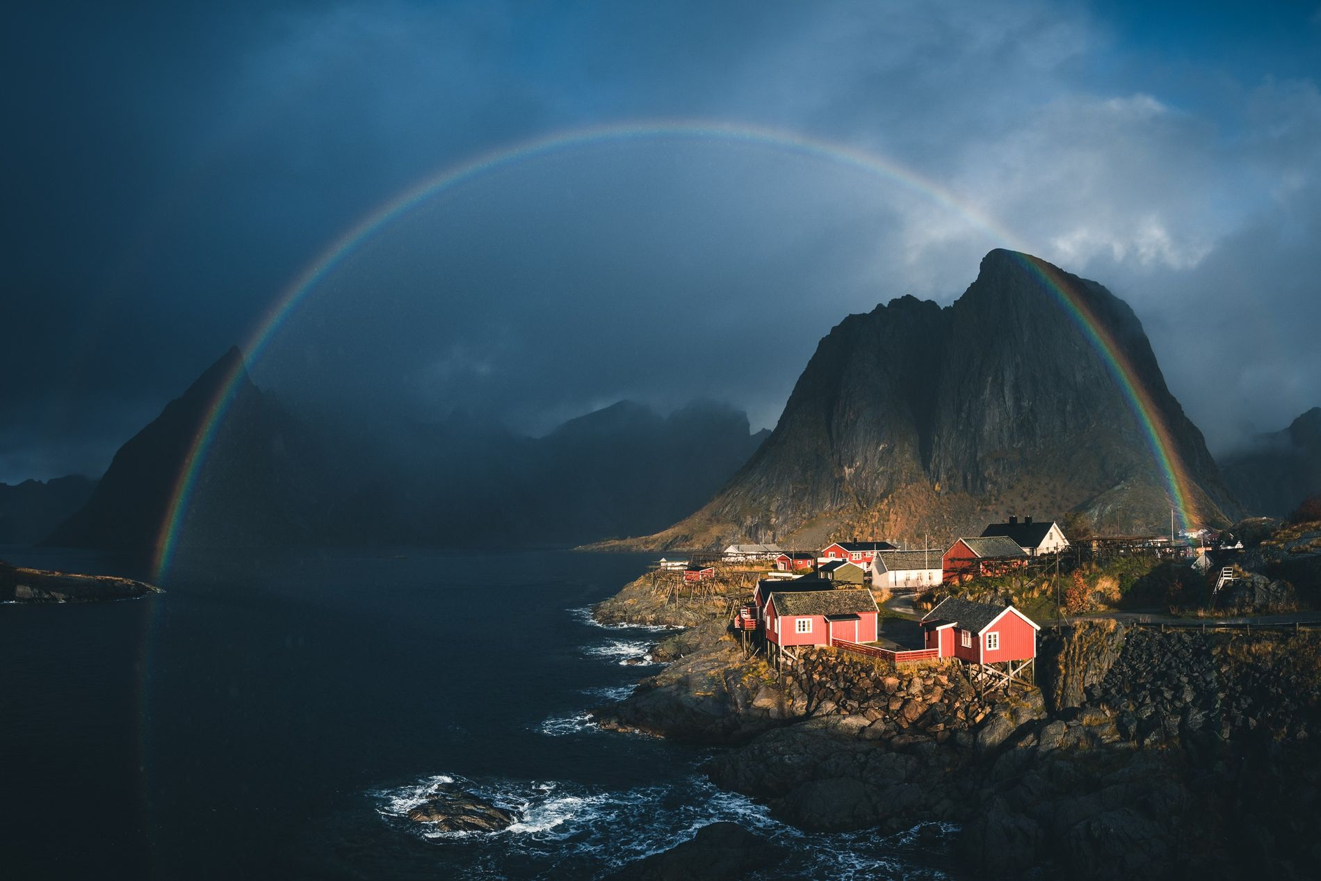 A panoramic view of the famous Eliassen rorbuer in Lofoten. A 'rorbu' is a traditional fishing ...
