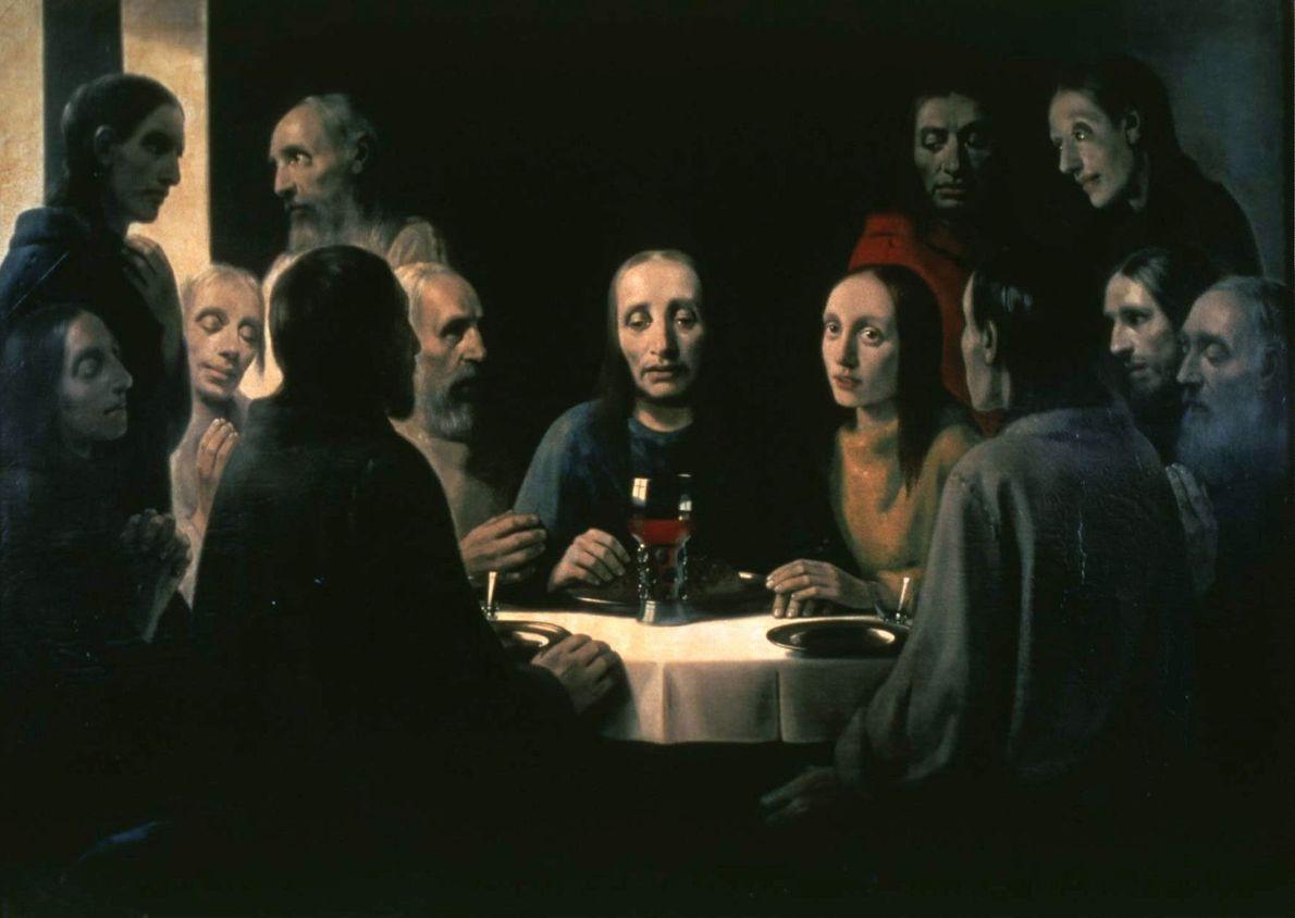 Dutch master forger Han van Meegeren's forgery of Vermeer's 'The Last Supper' hangs on display at ...