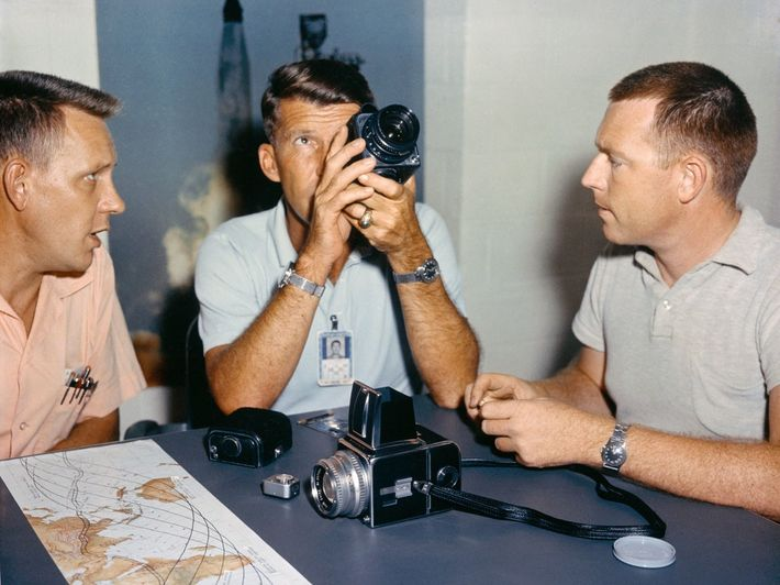 Astronaut Wally Schirra tests the modified Hasselblad before his Mercury-Atlas 8 flight in 1962.