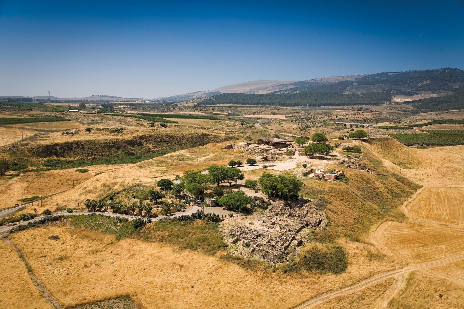 An aerial view of Hazor, a major Canaanite city in the 14th century B.C., whose ruins ...