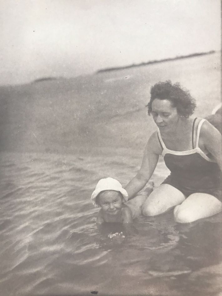 Helena and her mother cool off in the Dnieper River in July 1937.
