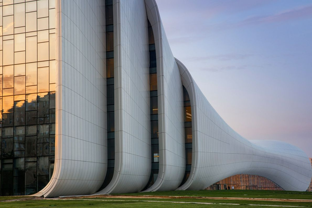 There are no straight lines in Baku, Azerbaijan's Heydar Aliyev Center. The undulating, curvy structure by ...