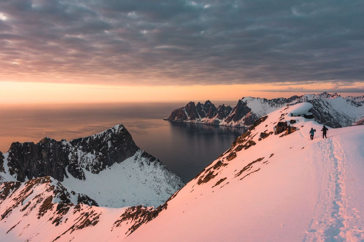 """""""Husfjell, Senja, Norway. After hours of hiking through the snow, we finally got to the top. ..."""