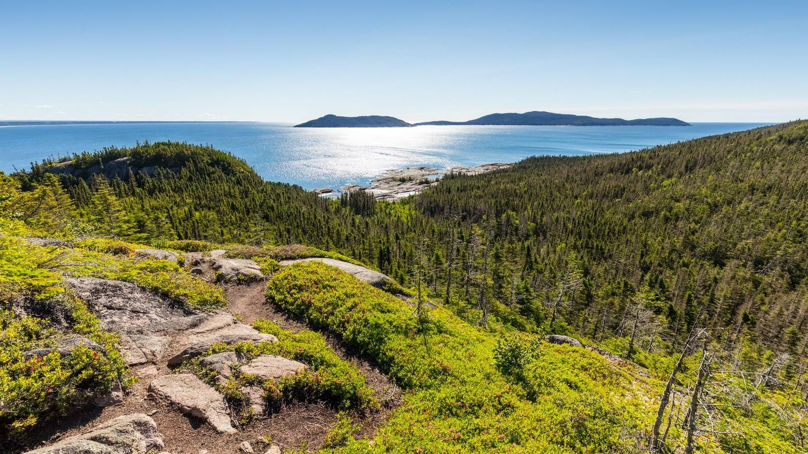 Hikers on Grand Basque Island are rewarded with sweeping views of the St. Lawrence, La Petite ...