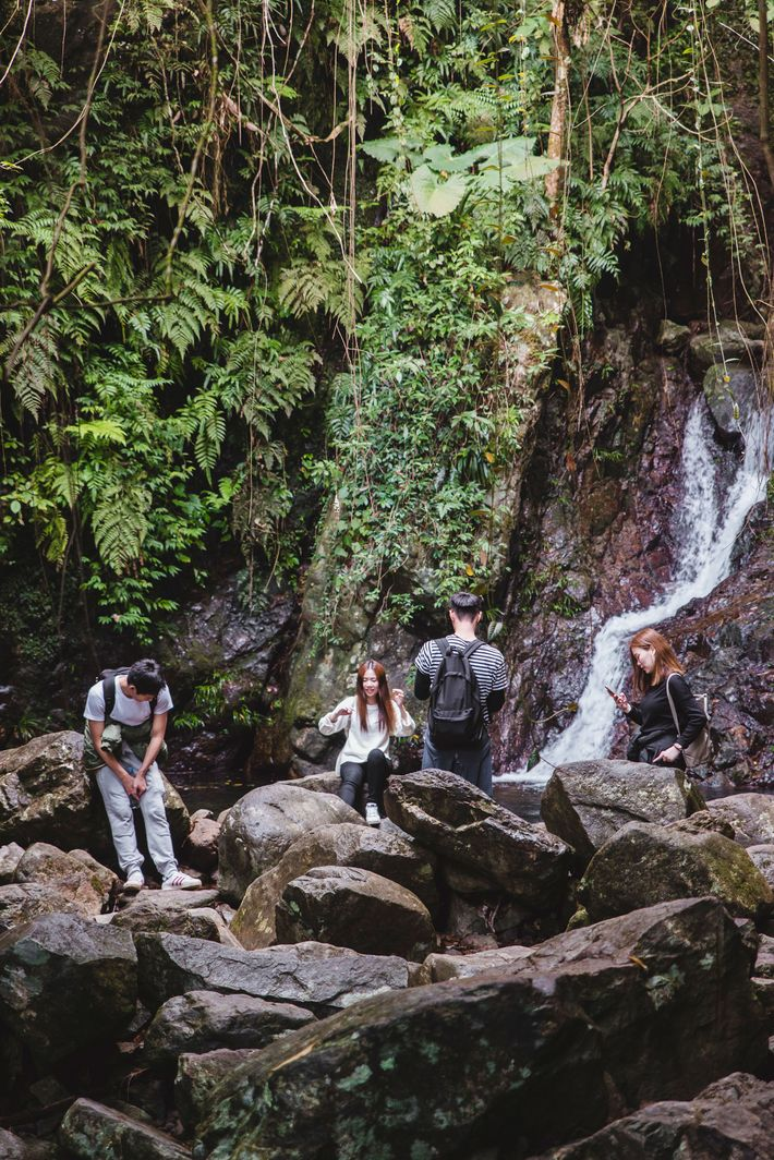 Friends rest at the Ng Tung Chai waterfall while hiking within Kadoorie Farms, New Territories.
