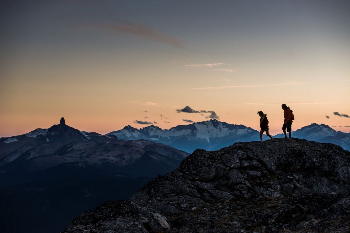 Hiking the High Note Trail on top of Whistler Mountain.