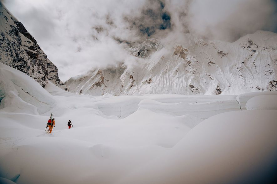 Nelson and Morrison make their way through a route above the Khumbu Icefall. It look the ...