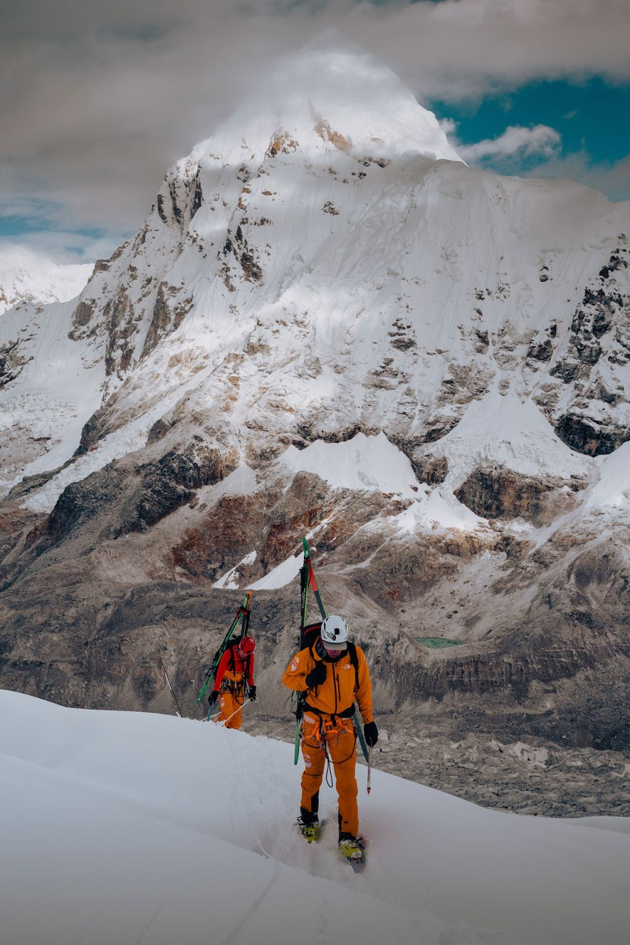 Morrison and Nelson make their way to a more exposed portion of the Icefall while on ...