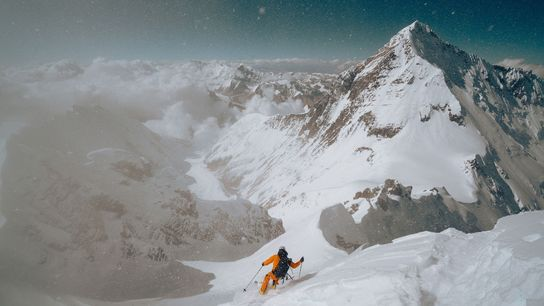 Morrison skis off Lhotse's summit. The route was so steep that he dropped around 5 metres ...