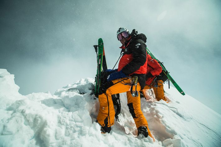 Morrison stands close to the Lhotse summit. Nelson and Morrison were able to place their skis ...