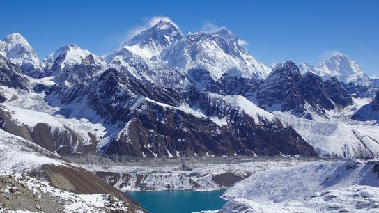 Mount Everest (centre) surrounded by glaciers and 'icefalls.'