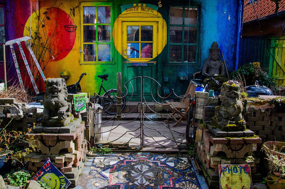 Christiania, a self-proclaimed autonomous neighborhood of about a thousand residents, is a place of color, hippy …