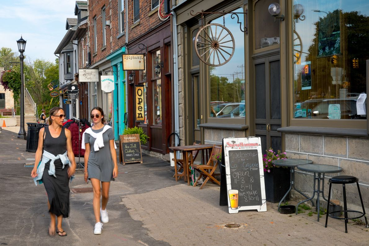 Enjoy a stroll along the historic downtown streets in Elora to browse the quaint shops and ...