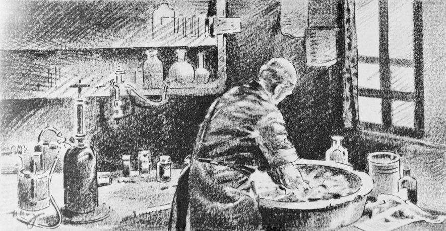 In a sketch, Semmelweis washes his hands in chlorinated lime solution. Although his work led to ...