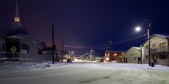 Front Street, Nome, in modern times. The town is the finish for the famous Iditarod Race, which ...