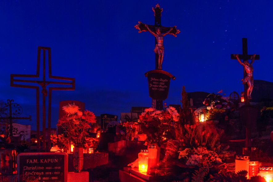 Candles are lit on All Soul's Day at gravesides in Styria, Austria.