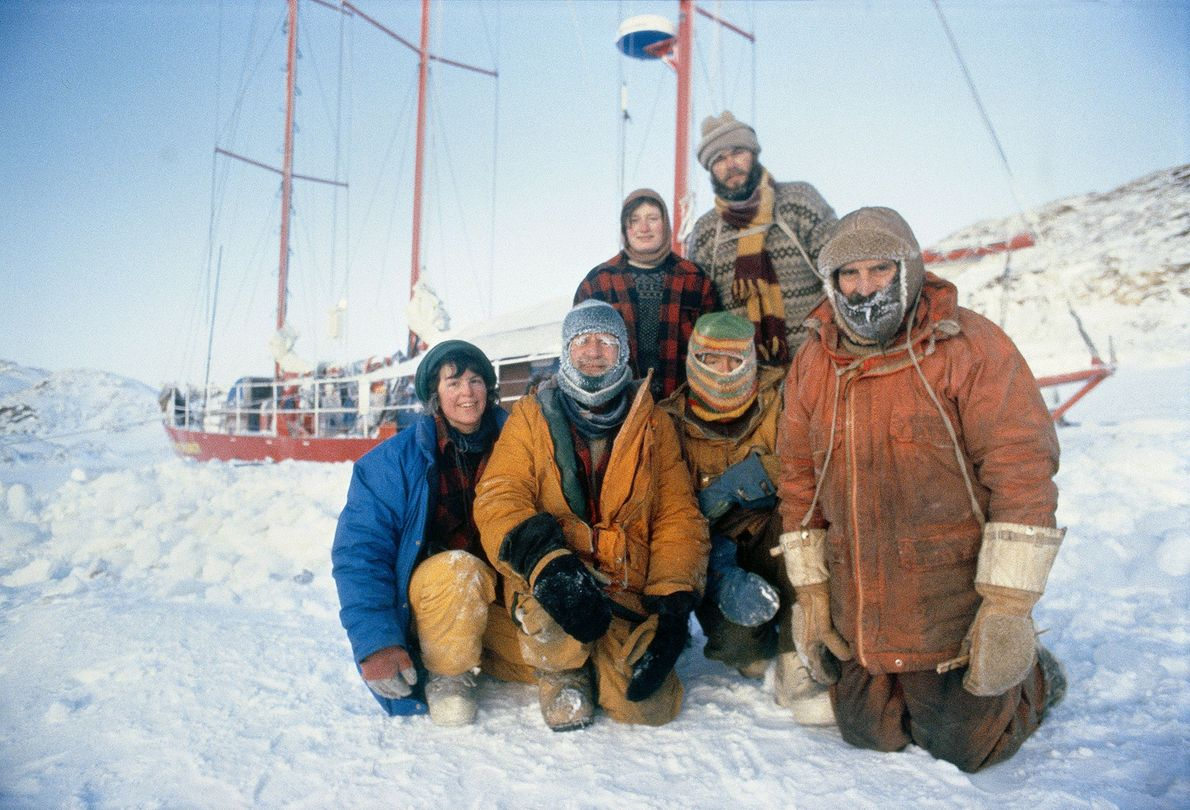 Members of the Frozen Sea Expedition to Antarctica pose together on Christmas Day, 1983. They celebrated ...