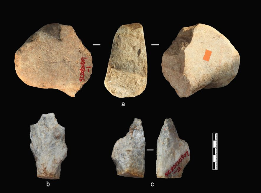 Some of the stone artifacts from Shangchen's oldest sediment layers.