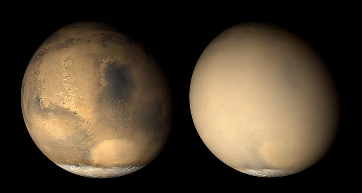 Two images of Mars taken a month apart in 2001 by NASA's Mars Global Surveyor, before ...