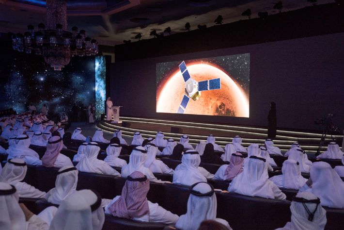 UAE prime minister, Sheikh Mohammed bin Rashid Al Maktoum of Dubai, left on stage, discusses a ...