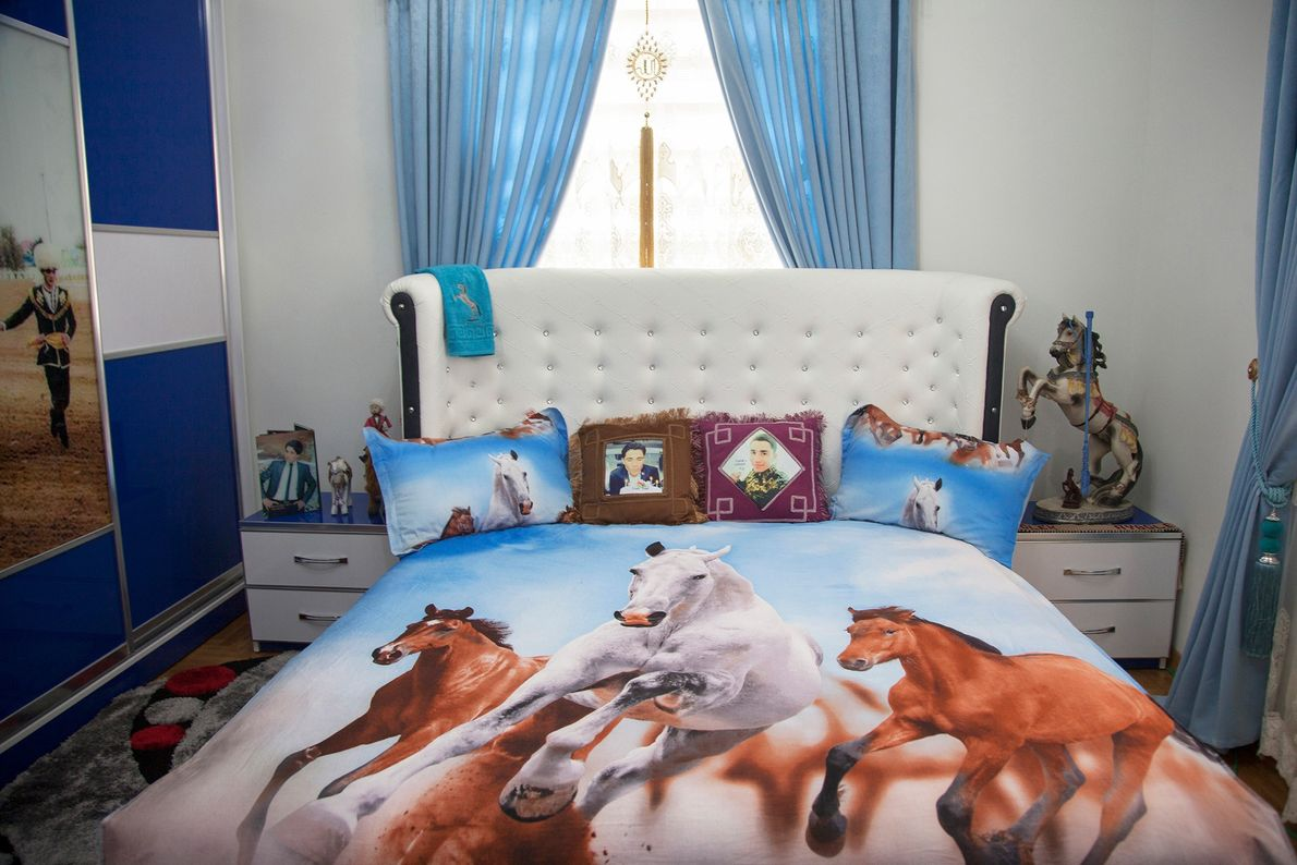 A showroom for a new housing complex outside Ashgabat is heavily decorated with horse paraphernalia.