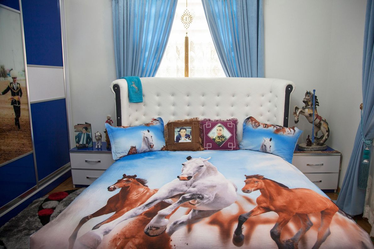 A showroom for a new housing complex outside Ashgabat is heavily decorated with horse paraphernalia.  …