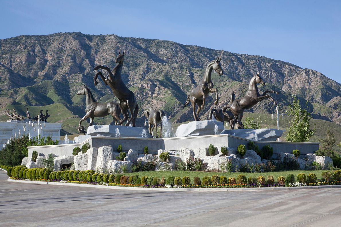 Horse monuments are located outside a large hippodrome in the area surrounding Ashgabat.