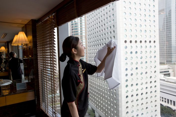 Many hotel rooms, like this one at the Mandarin Oriental Hotel in Hong Kong, are carefully ...