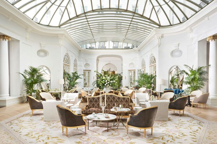 The Palm Court at the Mandarin Oriental Ritz, Madrid, which reopened last year after a three-year-long ...