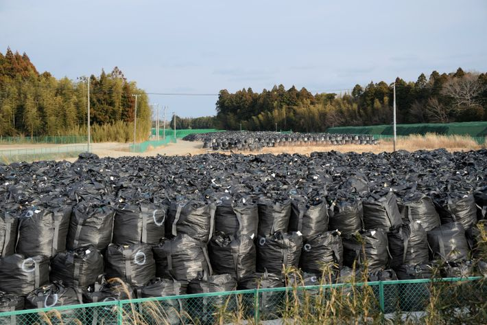 Bags containing irradiated soil are stacked up for temporary storage in Tomioka, Fukushima Prefecture. This image was ...