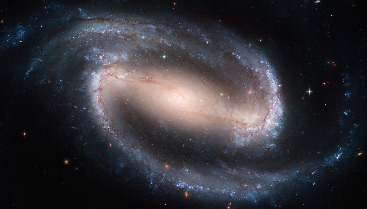 This iconic Hubble image of the spiral galaxy NGC 1300 is suffused with detail—bright blue young ...