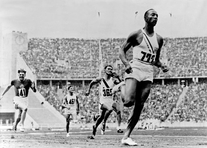 Jesse Owens won the 100-metre race at the 1936 Olympics in 10.3 seconds.