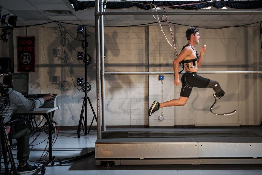 Paralympian sprinter Jarryd Wallace's bio mechanics are analysed at the Southern Methodist University Locomotor Performance Laboratory ...