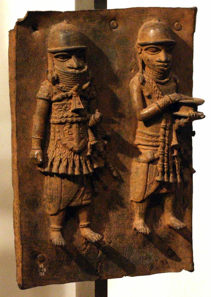Cast in the 16th and 17th centuries by artists in the ancient Kingdom of Benin, now ...
