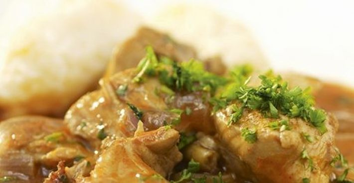 Chicken paprikash with dumplings