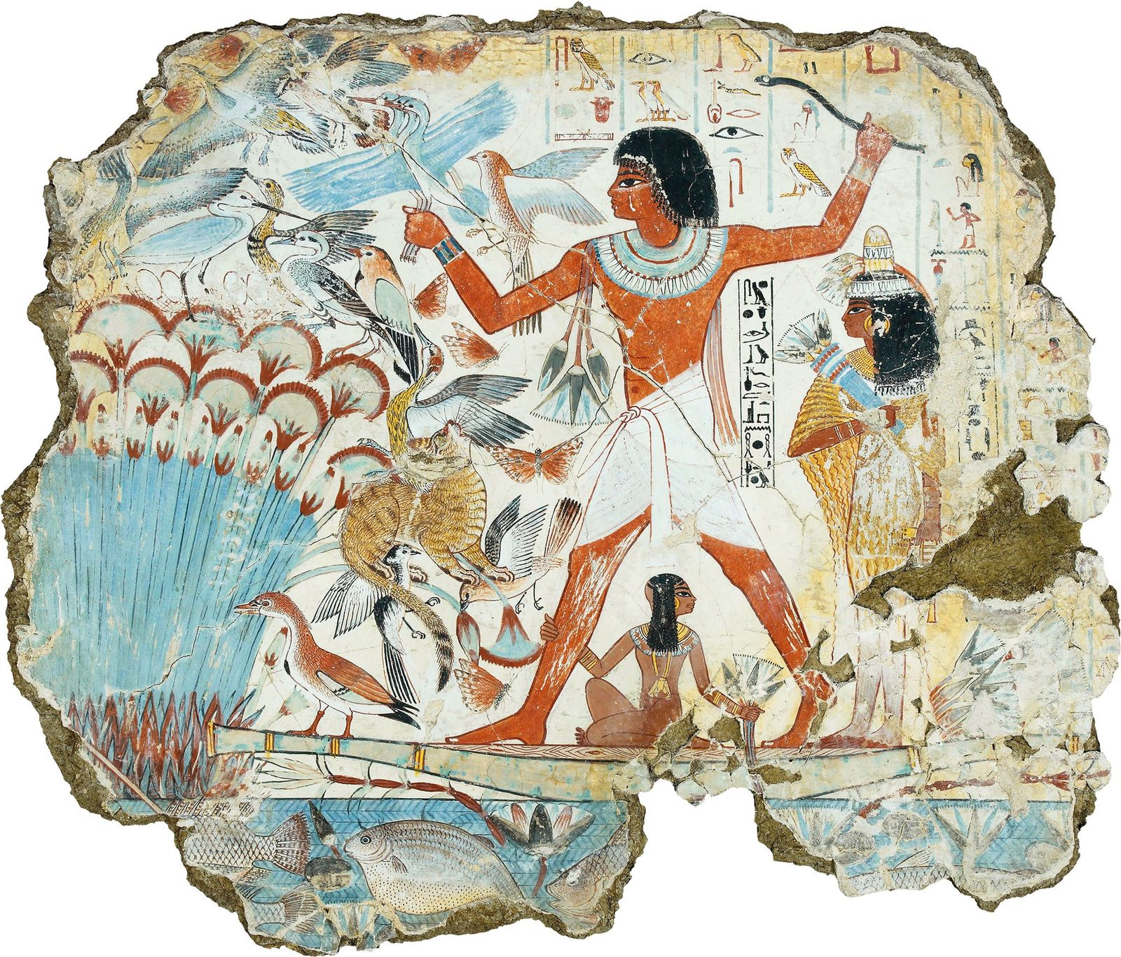Hunting in the afterlife, a scene depicted on a wall painting from the Theban tomb of ...