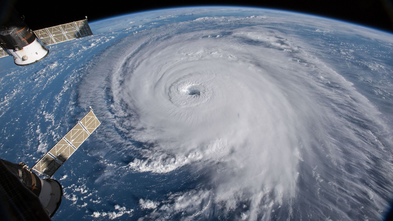 Slow and lumbering Hurricane Florence churns across the Atlantic Ocean on the morning of September 12, ...