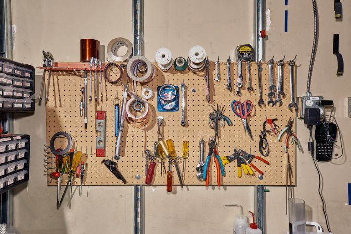 Various tools and supplies in the clean room at the lab.