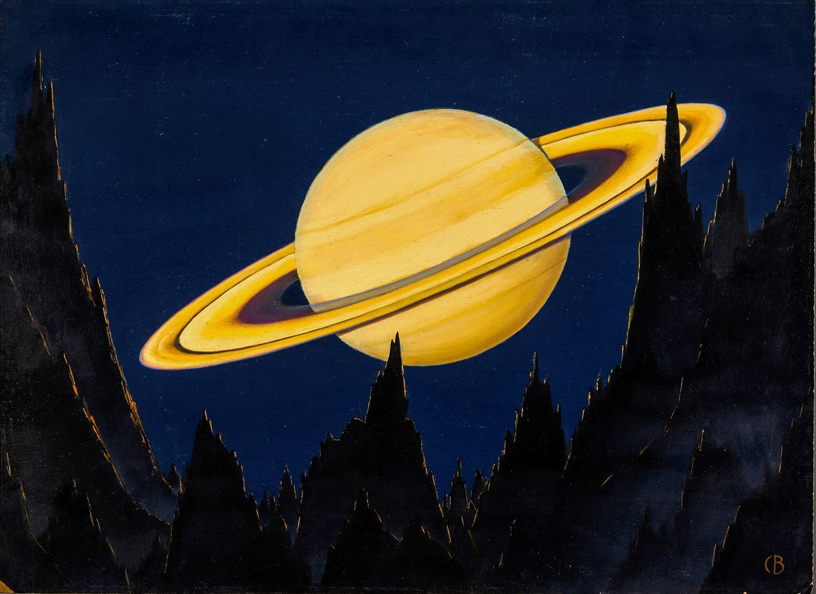 This painting shows Saturn and its iconic rings as seen from an asteroid 500,000 miles away. ...
