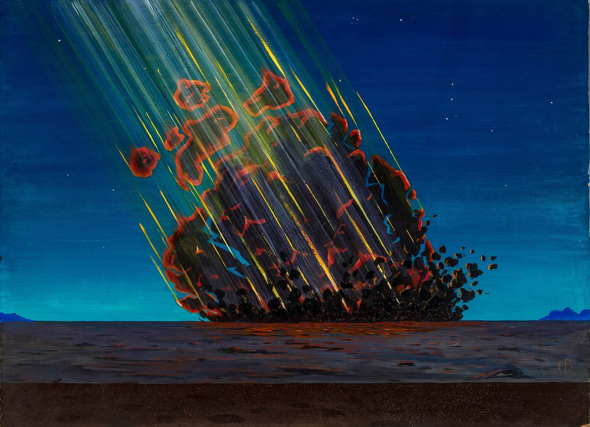 This painting depicts the artist's vision of the asteroid or comet impact that created Arizona's famous ...