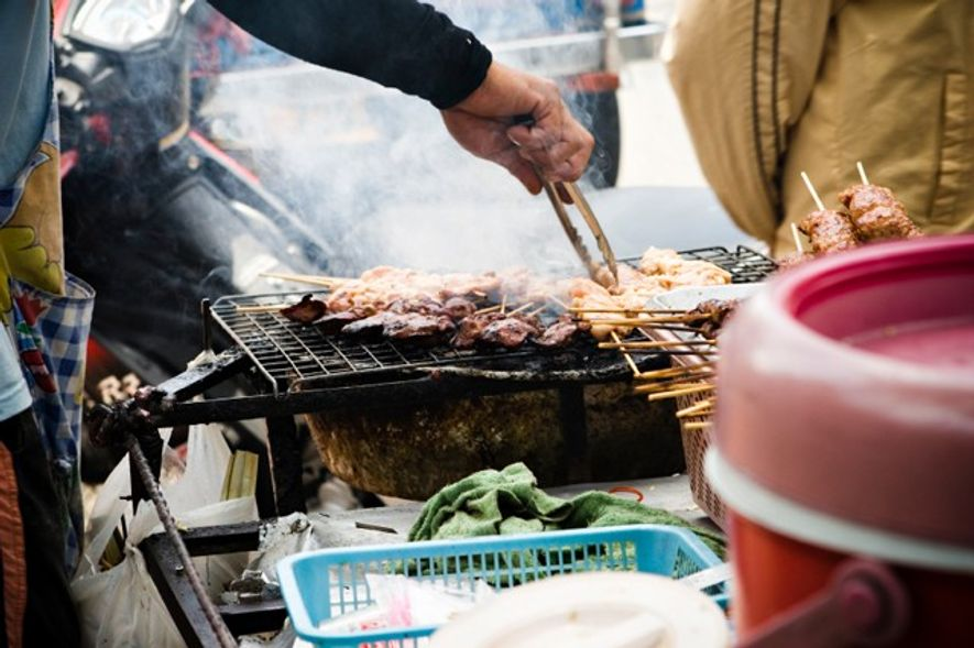 Cooking street food in Bangkok