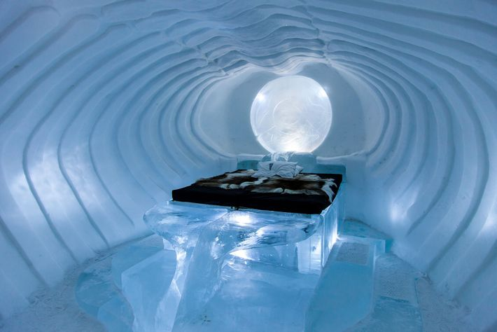 Ice artists fly in from around the world to carve ICEHOTEL's themed suites.
