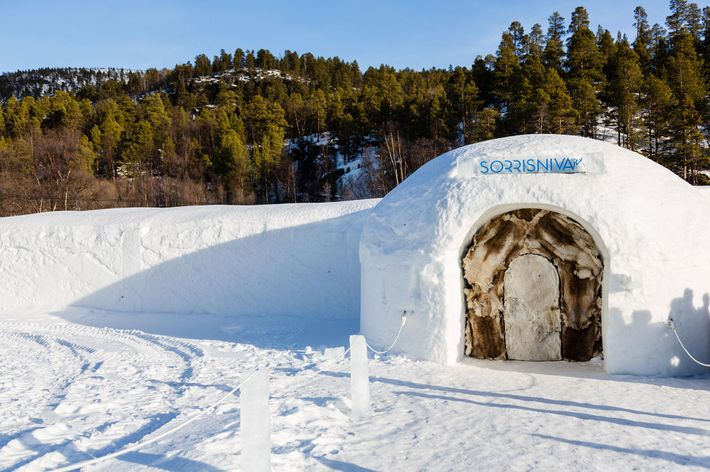 Sorrisniva Igloo Hotel is constructed anew each year by local workers and artists.