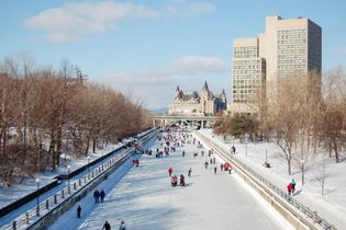 Skating on the Rideau Canal, a UNESCO World Heritage Site, in Ottawa, Ontario.