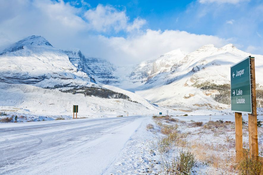 The Icefields Parkway runs through the Canadian Rockies and connects Banff National Park and Jasper National ...