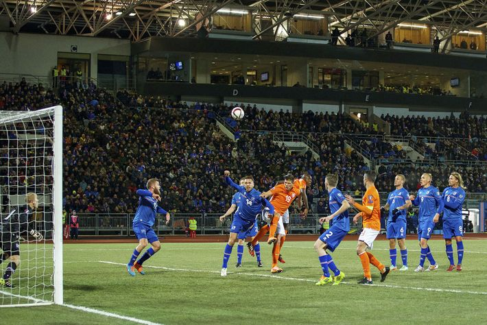 Iceland plays against the Netherlands during a EURO 2016 qualifying match at the Laugardalsvollur National Stadium ...