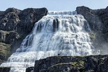 Multi-tiered Dynjandi waterfall, known as the 'Jewel of the Westfjords'.