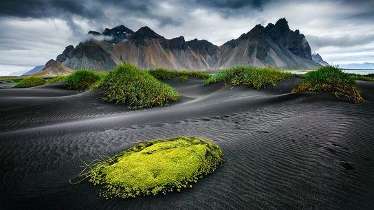 The black sand beach at Stokksnes, beneath Vestrahorn mountain in southeast Iceland.